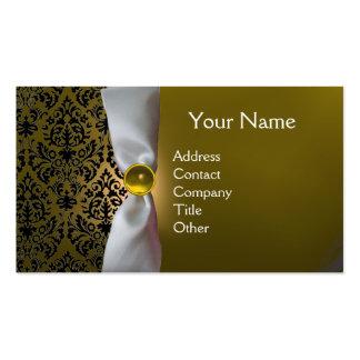 DAMASK MONOGRAM white ribbon black yellow Business Cards