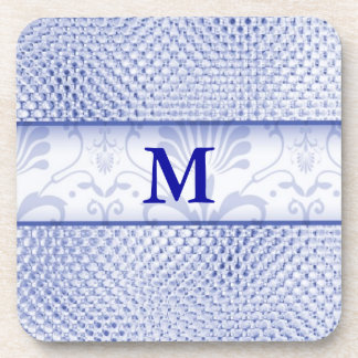 Damask Monogrammed Coasters:Blue Bling Effect