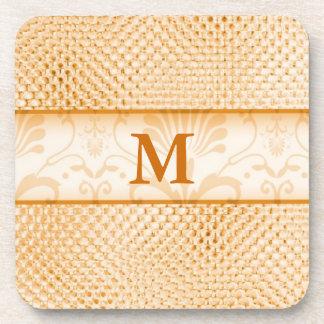 Damask Monogrammed Coasters:Gold Bling Effect