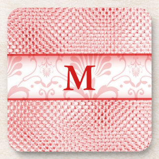 Damask Monogrammed Coasters:REd Bling Effect
