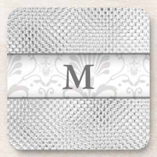 Damask Monogrammed Coasters:Silver Bling Effect