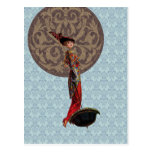Damask Moon: 1912 Fashion in Red and Brown Postcard