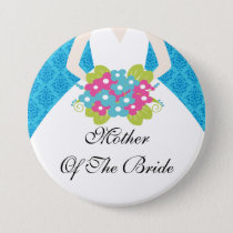 Damask Mother of the Bride Button / Pin Blue
