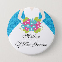 Damask Mother of the Groom Button / Pin Blue