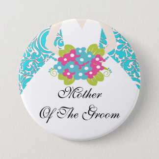 Damask Mother of the Groom Button / Pin Turquoise