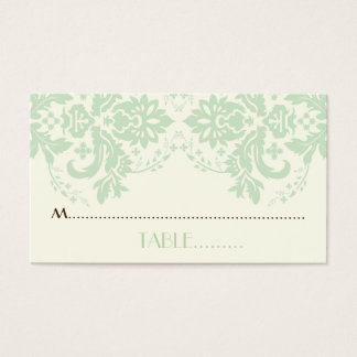 Damask motif mint green, ivory wedding place card