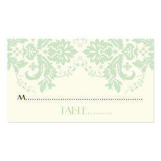 Damask motif mint green, ivory wedding place card business card