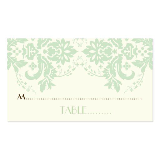 Damask motif mint green, ivory wedding place card business card