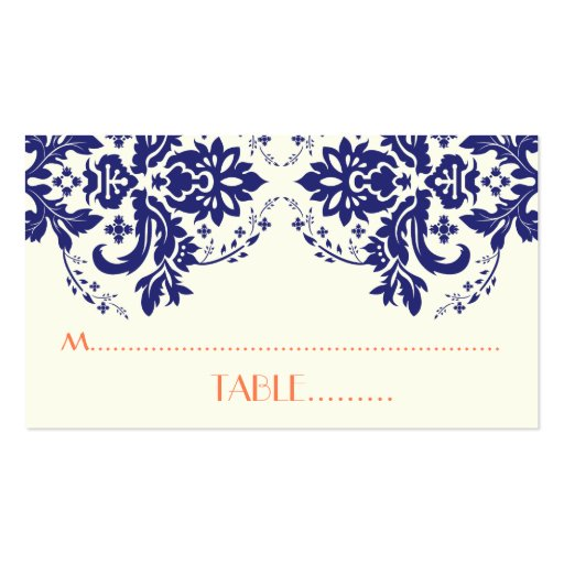 Damask motif navy blue, coral wedding place card business card