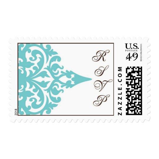 damask motif rsvp postage