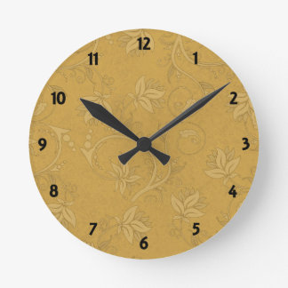 Damask Mustard Yellow Round Clock