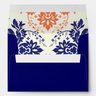 Damask navy blue and coral monogram wedding envelope