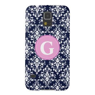 Damask Navy Blue and White Pattern Monogram Galaxy S5 Case