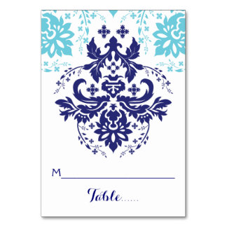 Damask navy blue, aqua wedding escort place card
