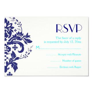 Damask navy blue, aqua wedding RSVP reply card