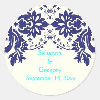 Damask navy blue, aqua, wedding Save the Date Classic Round Sticker