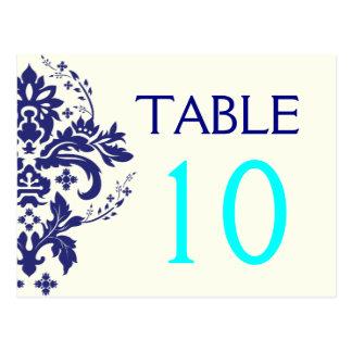 Damask navy blue, aqua wedding table number postcard