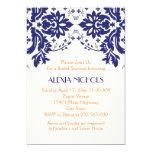 Damask navy blue, coral wedding bridal shower 5x7 paper invitation card