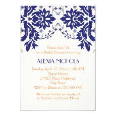 Damask navy blue, coral wedding bridal shower 5