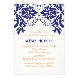 Coral and navy bridal shower invitations announcements zazzle damask navy blue coral wedding bridal shower invitation filmwisefo