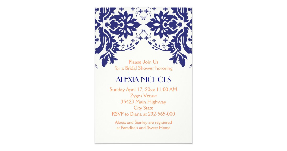 Blue And Coral Wedding Invitations: Damask Navy Blue, Coral Wedding Bridal Shower Invitation