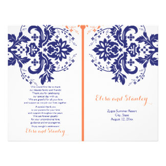Damask navy blue, coral wedding program