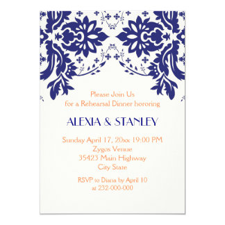 Damask navy blue, coral wedding rehearsal dinner card