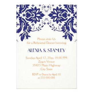 Damask navy blue coral wedding rehearsal dinner custom announcement