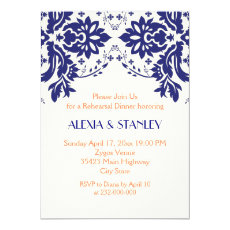 Damask navy blue, coral wedding rehearsal dinner 5