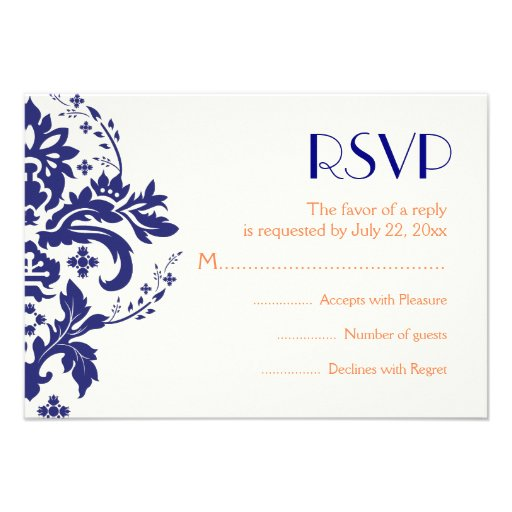 "Damask navy blue, coral wedding RSVP reply card 3.5"" X 5 ..."