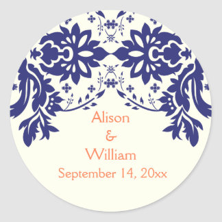 Damask navy blue, coral, wedding Save the Date Classic Round Sticker