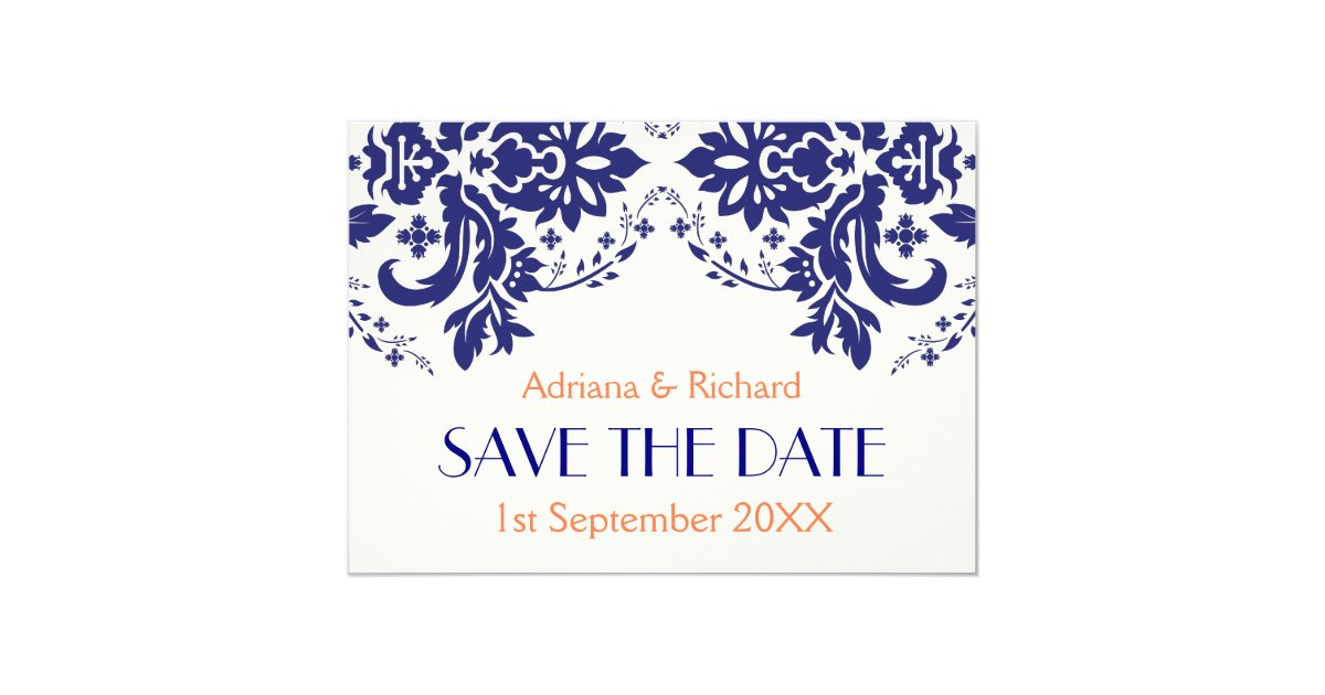 Blue And Coral Wedding Invitations: Damask Navy Blue, Coral Wedding Save The Date Invitation