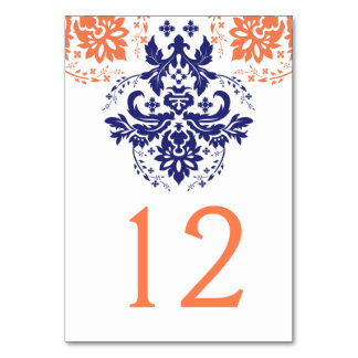 Damask navy blue, coral wedding table number