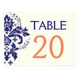 Damask navy blue, coral wedding table number postcard