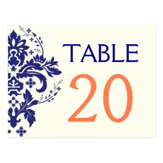 Damask navy blue, coral wedding table number postcard