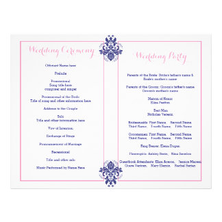 Damask navy blue, pink wedding program