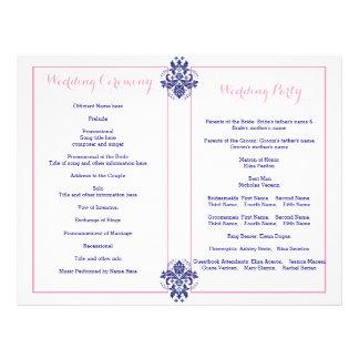 Damask navy blue, pink wedding program