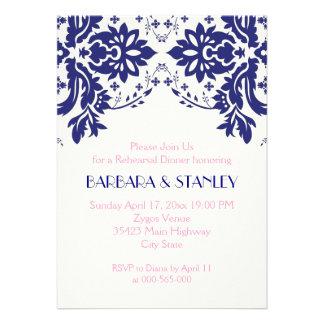 Damask navy blue pink wedding rehearsal dinner custom invites