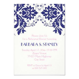 Damask navy blue, pink wedding rehearsal dinner invitation