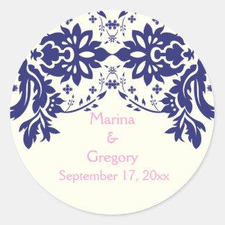Damask navy blue pink wedding Save the Date Round Sticker