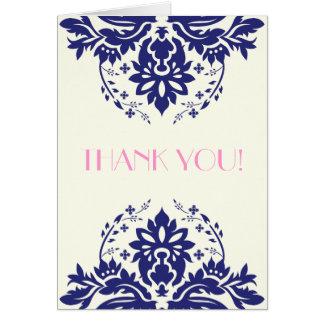 Damask navy blue, pink wedding Thank You Stationery Note Card