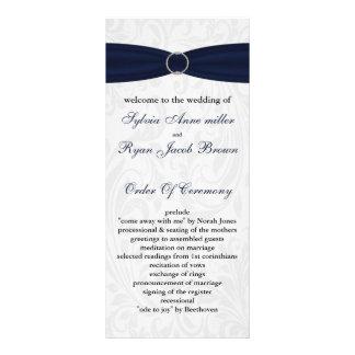 "damask ""navy blue"" Wedding program"
