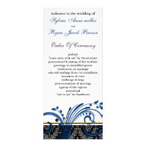 "damask ""navy blue"" Wedding program"