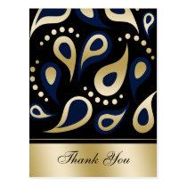 damask navy ThankYou Cards