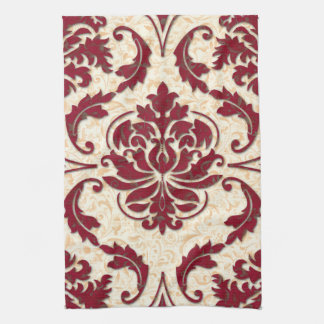 Damask, NOUVEAU PRINT in Burgundy and Gold Kitchen Towels