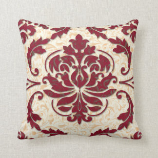 Damask, NOUVEAU PRINT in Burgundy and Gold Throw Pillow