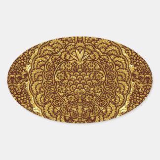 Damask of Queen Margaret I of Denmark's dress Oval Sticker