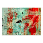 Damask on abstract template, teal crimson large business cards (Pack of 100)