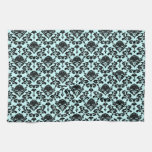 damask on changeable background color kitchen towels