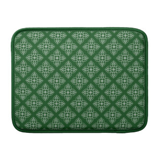 Damask on dark green MacBook sleeve